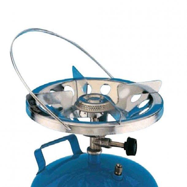 Kogeapparat velegnet til større gryder og pander. Vindbeskyttet blus og bærehåndtag.