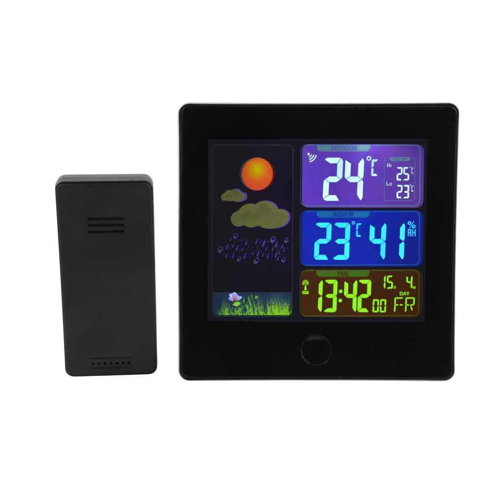 Unika Trådlös termometer/hygrometer med radiostyrd klocka WN-48